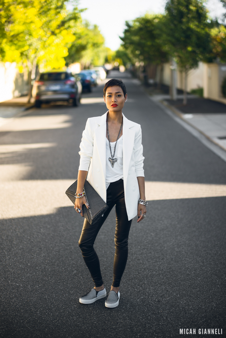 Micah Gianneli_Best top personal style fashion blog_Street style editorial_Windsor Smith_Shark tooth necklace_Save the Last Pinker_Kzeniya_Luv AJ_Sports luxe_Androgynous model_Vince sneaker slip on trend