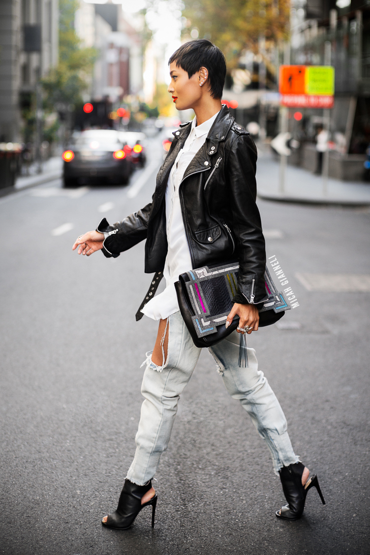 Micah Gianneli_Best top personal style fashion blog_Rihanna style_Street style editorial_Barbara Bonner_Wanted Shoes_Marques Almeida_Leather biker_Short hair female 2014_Androgynous model editorial