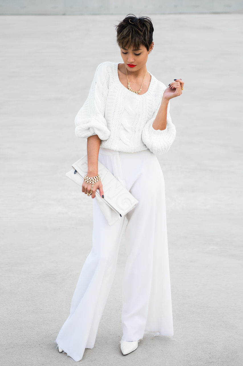 Micah Gianneli_Best top fashion style lifestyle blogger_Rihanna Riri style_Popcherry Fashion_All White editorial street style_Pixie hair_White sweater wide leg pants_Anna Quan_Elle Tarplin_