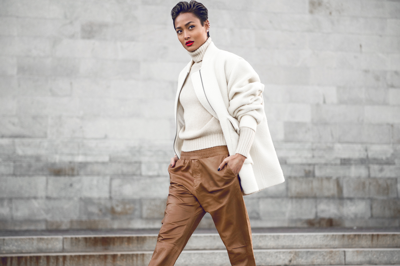 Micah Gianneli_H&M Studio 2014_Winter Style_Leather Pants_Short Hair Women_Tony Bianco